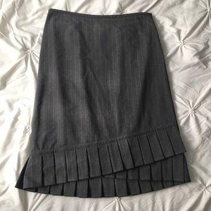 Ann Taylor LOFT Gray Pinstripe Pleat Pencil Skirt