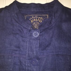 Coldwater Creek Navy Linen Jacket Blazer
