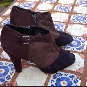 Fioni Peep Toe Booties in Black & Brown