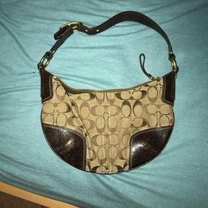 Classic brown coach shoulder bag