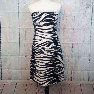 Michael Kors S 6 Black White Zebra Strapless Dress