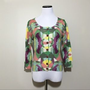 Anthropologie Colorful Watercolor Cropped Cardigan