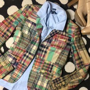 Classic Polo Ralph Lauren Plaid Patchwork Blazer