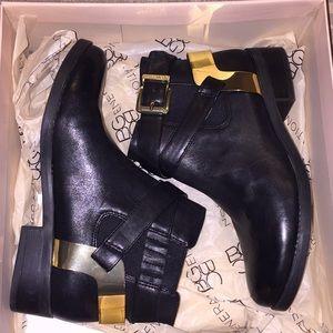 BCBG black/gold booties, size 6 US
