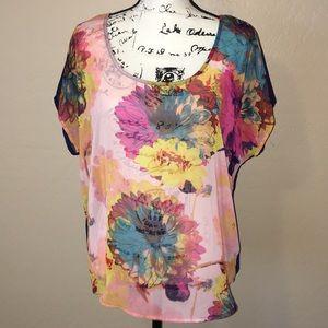 F21 Floral sheer blouse w/ stripped back design