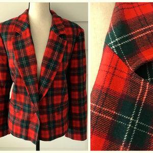 Vintage PENDLETON Plaid Blazer Jacket Red Green 10