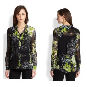 BCBGMaxazria Floral Silk Button Down Blouse