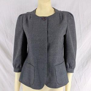 Banana Republic Gray Wool Blazer Jacket 3/4 sleev