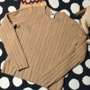 GAP Khaki Wool Blend Cable Knit Crew Neck Sweater