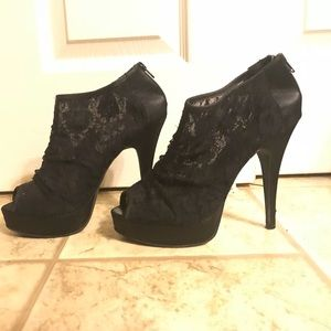 Lace heeled booties