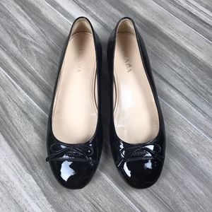 Prada All Black Patent Leather Ballet Flats Sz 37