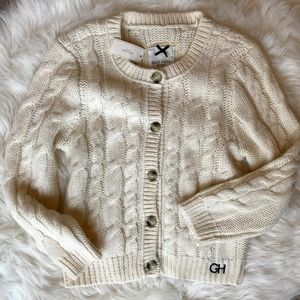 NEW Gilly Hicks Cream Cable Knit Cardigan Sweater