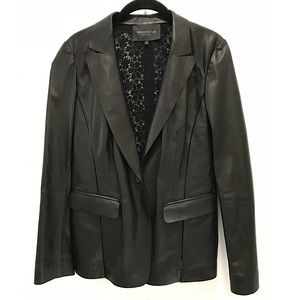 Lafayette 148 Leather Jacket with Lace Back