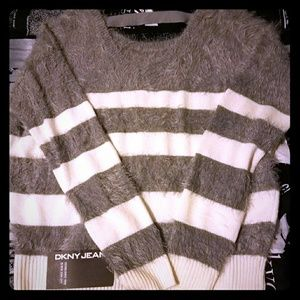 Grey and cream DKNY sweater new with tags