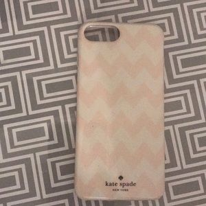Kate spade pale pink & white iPhone 7+ case