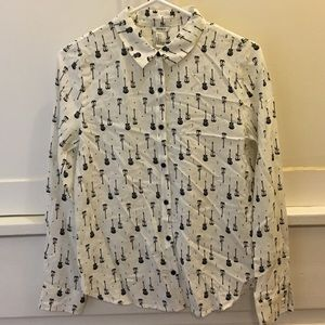Forever 21 Button Down Shirt with Guitars S