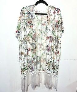 White Floral Velvet Kimono