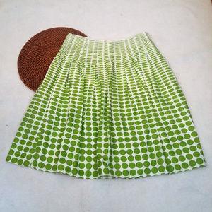 Cato Sz 10 Green & White Circles 100% Cotton Skirt