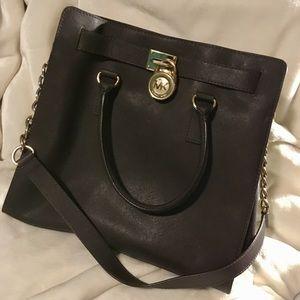 Michael Kors Large Hamilton Bag Dark Brown