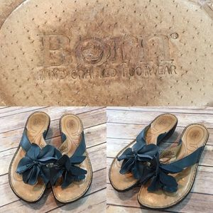 🌳Size 9 M Born Leather Flower Thong Wedge Sandal