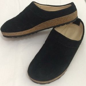 Haflinger Black Suede Leather Clogs Mules Sz 39 9