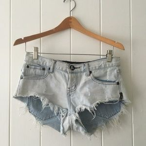 One Teaspoon Low Rise Acid Wash Distressed Shorts
