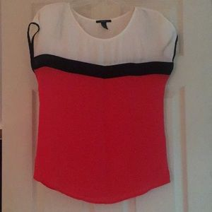 Red White and Black Blouse