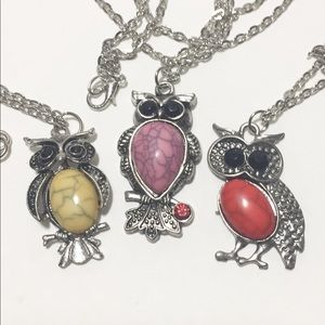3 Owl Pendants with chain necklaces