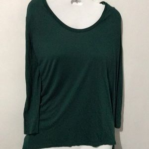 NWOT DKNY Forest Green Long-sleeved Top Sz XL