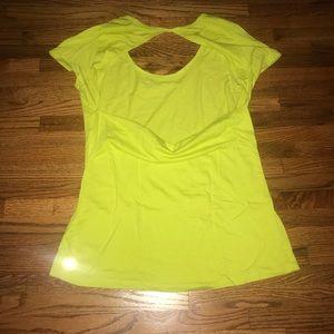 Cute open back neon yellow Fabletics tee