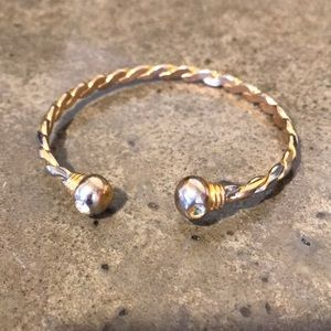 Gold and silver twirl magnetic bracelet