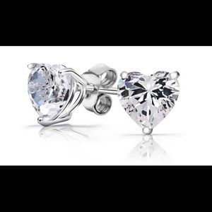 925 Sterling Silver 2 CTW Swarovski Heart Earrings