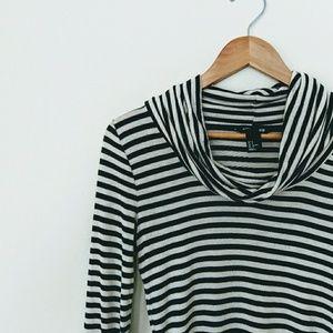 H&M Basics Striped Cowl Neck Top