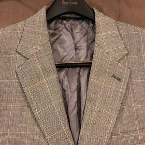 Jos A Bank Grey w/ Tan Windowpane Sport Coat 42R