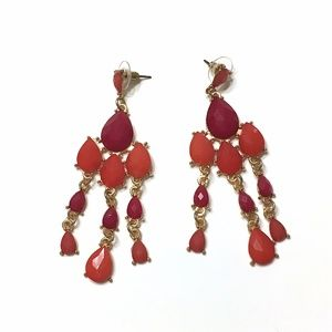 Red and Orange Drop Earrings