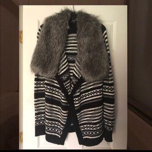 Express Faux Fur Cardigan Sweater. Small