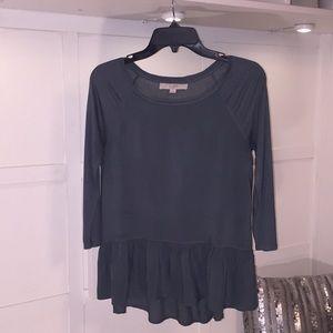 LOFT Hi-Lo Ruffle Waist Silk Blend Blouse