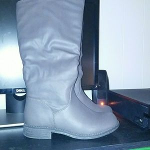 Brand new grey over the knee wide calf boots.