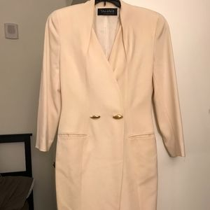 Tahari Womens Beige Long Blazer Peacot Like