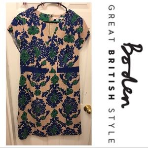 Boden Short Sleeve Green and Blue Patterned Dress