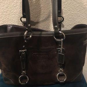 Coach suede chocolate brown purse