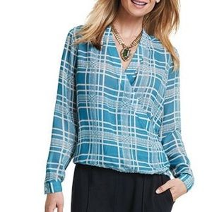 CAbi wrap style sheer blouse