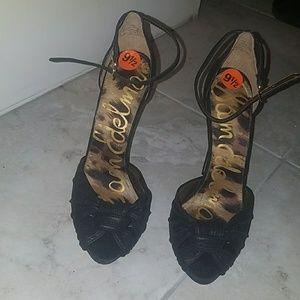 New SAM EDELMAN black open toe heels size 9.5