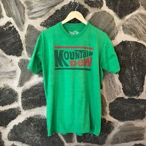 Vintage • bright green thin soft MOUNTAIN DEW tee
