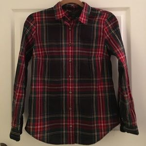 J. Crew Black and Red Tartan Plaid Button Up Shirt