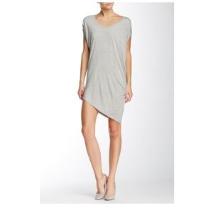 Heathered Grey Asymmetric Hem Mini Dress Tunic EUC