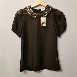 Anthropologie Pins and Needles Black Sheer shirt