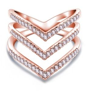 Rose Gold Sparkly Paved Stacked V Ring Zirconia