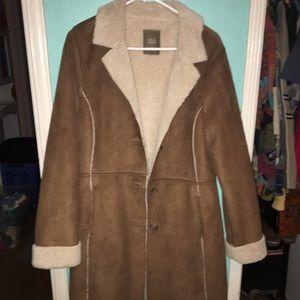 Brown coat with fur