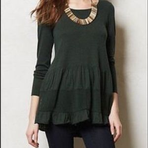 Knitted and Knotted Green Peplum Sweater